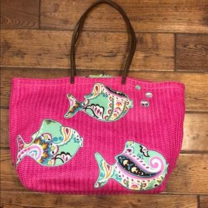 Vera Bradley seashore fish straw beach bag tote